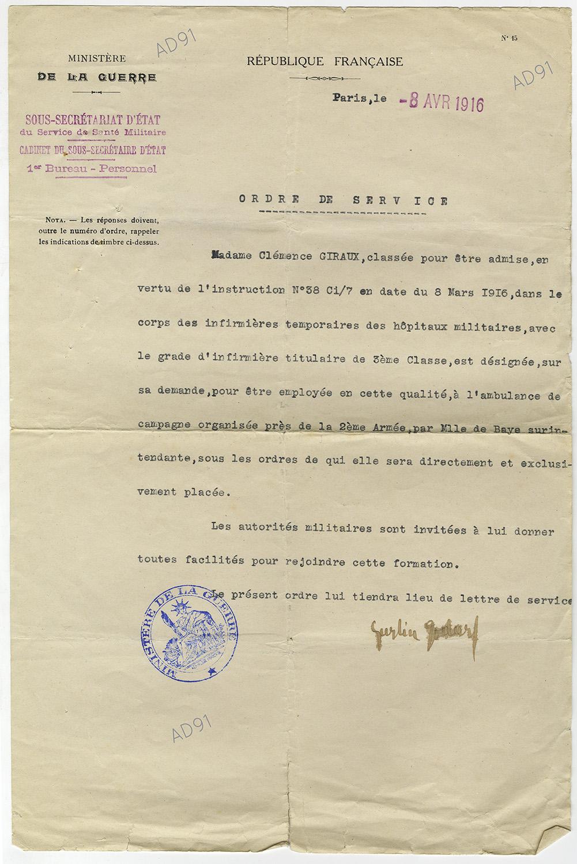 18 - Ordre de service pour affectation à l'ambulance de campagne auprès de la 2e Armée comme infirmière titulaire, 8 avril 1916. (032NUM048/091)