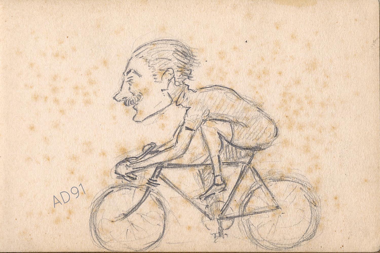 18 - Lucien Duclair sur son vélo, autoportrait, sd. (93J4/1)
