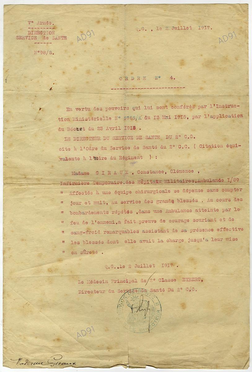 19 - Citation à l'ordre du service de santé du 2e C. C., 5e Armée (citation équivalent à l'ordre du régiment), 2 juillet 1917. (032NUM048/098)
