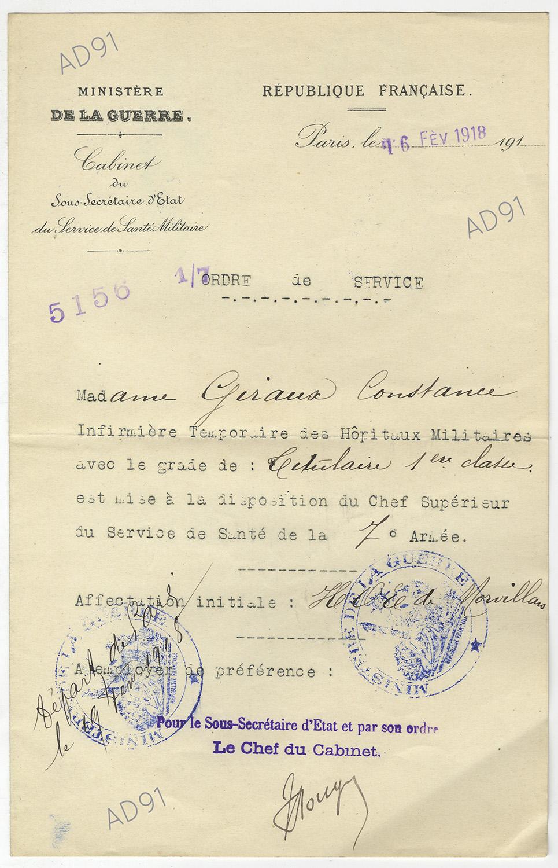20 - Ordre de service et affectation à la 7e Armée, 16 février 1918. (032NUM048/103)