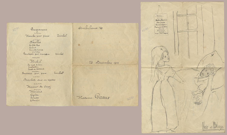 23 - Programme du spectacle et menu organisé le 25 décembre 1916 à l'ambulance 1/89, dessin. (032NUM048/109)
