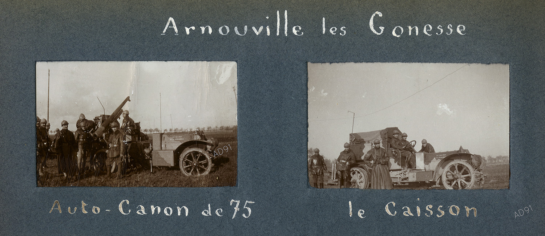 24 - La voiture auto-canon et son caisson à Arnouville-lès-Gonesse (Val d'Oise), 1916, photographie. (032NUM019/058)
