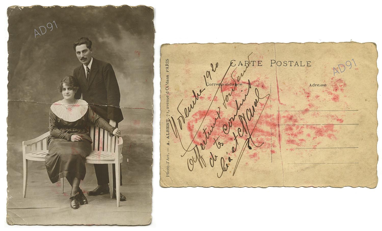 26 - Léa et Marcel Rogé, portrait, novembre 1920. (032NUM044/95)