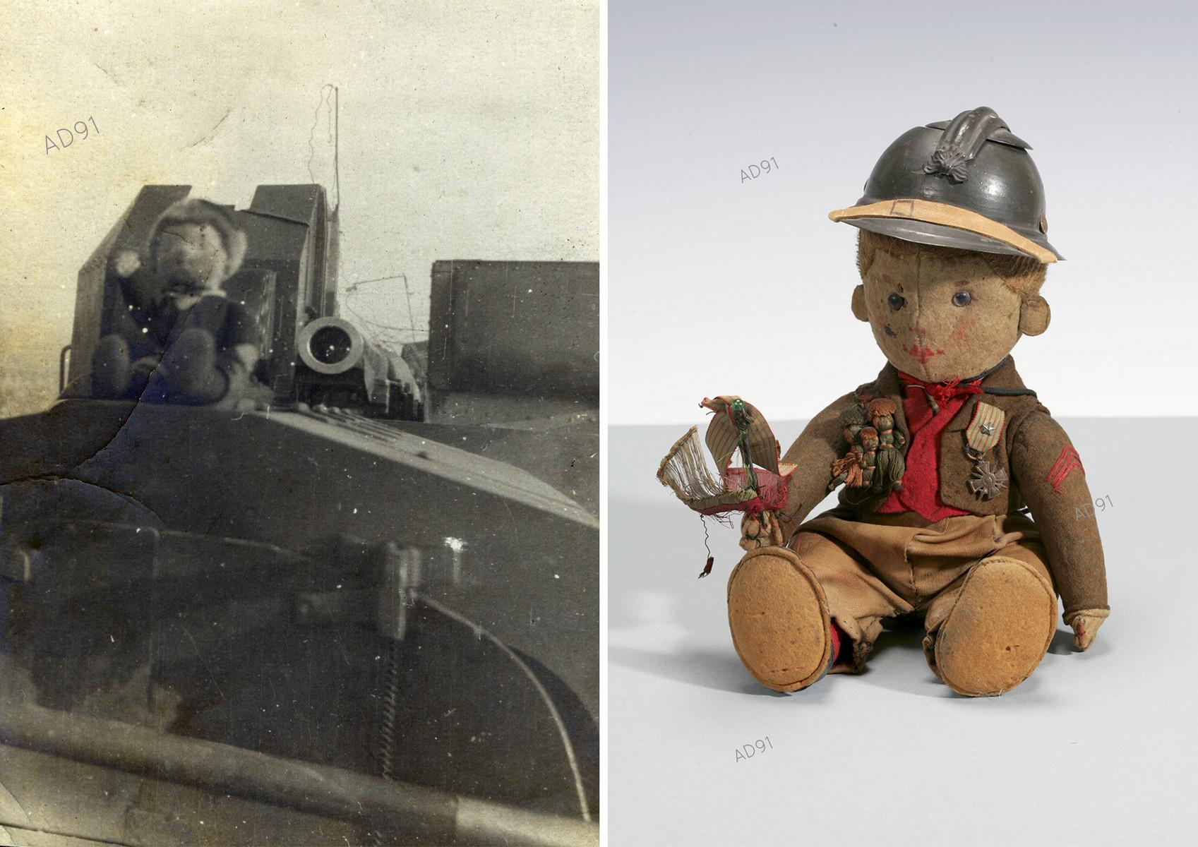 27 -  La peluche mascotte de Marcel Larcher posée sur l'auto-canon, photographie, [1917-1918]. (023NUM019/87). - Peluche mascotte, photographie. (032NUM019/156)