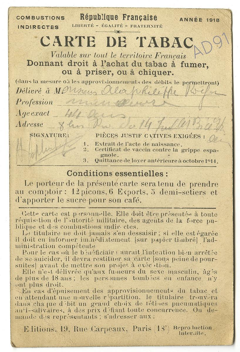 28 - Carte de tabac, 1916. (032NUM044/97)