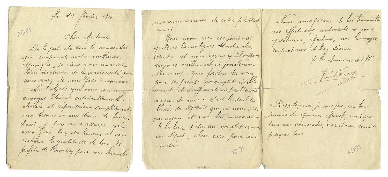 33 - Lettre adressée à Mme Larcher par Paul Heiry, 21 février 1915. (032NUM019/108)