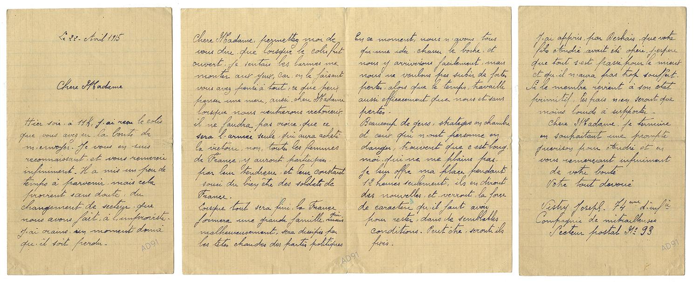 34 - Lettre adressée à Mme Larcher par Joseph Vistry, 22 avril 1915. (032NUM019/109)