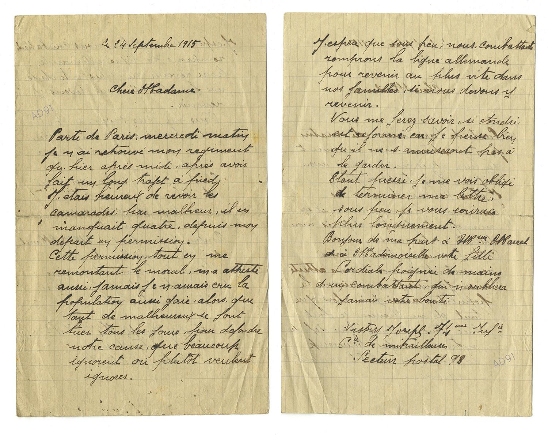 35 - Lettre adressée à Mme Larcher par Joseph Vistry, 24 septembre 1915. (032NUM019/110)