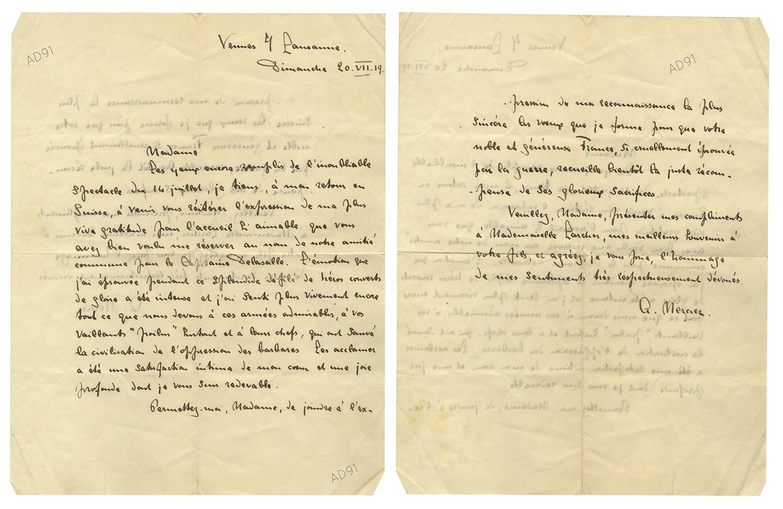 36 - Lettre adressée à Mme Larcher par M. Mercier, 20 juillet 1919. (032NUM019/111)